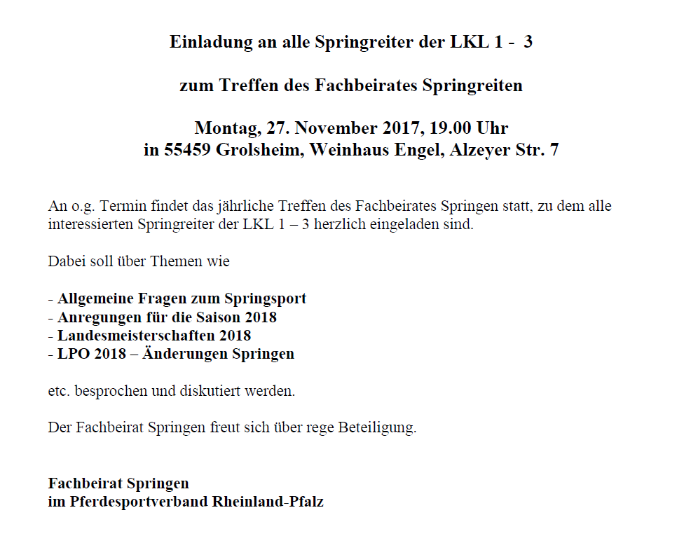 pferdesportverband rheinland-pfalz e.v., Einladung